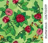 hand drawn roses flowers ... | Shutterstock .eps vector #136731059