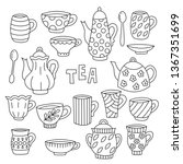 tea tableware doodle icons set... | Shutterstock .eps vector #1367351699