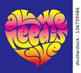 psychedelic heart typography ... | Shutterstock .eps vector #136739486