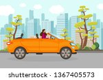 happy woman riding cabriolet...   Shutterstock .eps vector #1367405573