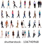 collection back view walking... | Shutterstock . vector #136740968