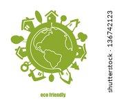 vector eco green planet. | Shutterstock .eps vector #136742123