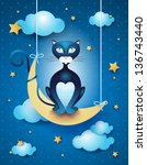 Cat And Moon  Vector...