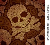 golden pattern with skull and... | Shutterstock .eps vector #136743488