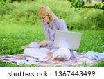 business lady freelance work... | Shutterstock . vector #1367443499