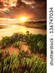 Beautiful sunrise on the South Australian coast - stock photo