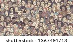 diverse crowd of people  kids ... | Shutterstock .eps vector #1367484713