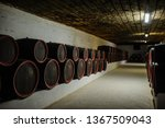 Wine Wooden Barrels Inside The...