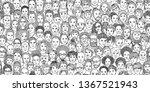diverse crowd of people  kids ... | Shutterstock .eps vector #1367521943