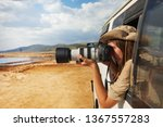 girl taking photo of african... | Shutterstock . vector #1367557283
