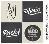 music design elements with font ... | Shutterstock .eps vector #136758926