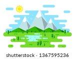 summer landscape with hills ... | Shutterstock .eps vector #1367595236