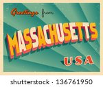 vintage touristic greeting card ... | Shutterstock .eps vector #136761950