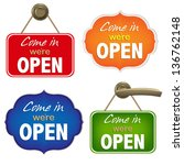 vintage open sign set with...