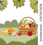 wicker basket with fruit and... | Shutterstock .eps vector #1367621636