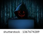 hacker with red glowing mask... | Shutterstock . vector #1367674289