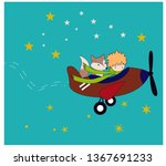 the little prince with his rose ...   Shutterstock .eps vector #1367691233