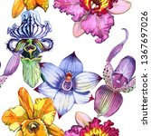 wildflower orchid flower... | Shutterstock . vector #1367697026