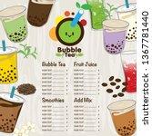 bubble tea menu graphic template   Shutterstock .eps vector #1367781440