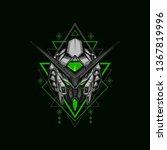 dark warrior robot illustration ... | Shutterstock .eps vector #1367819996