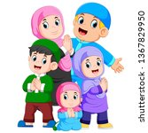 a group of muslim family are... | Shutterstock . vector #1367829950