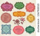 set of elegant vintage frames | Shutterstock .eps vector #136783010