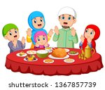 a happy family are praying for... | Shutterstock .eps vector #1367857739