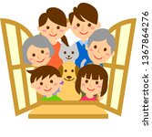 happy family with window....   Shutterstock .eps vector #1367864276