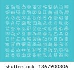collection of line white icons... | Shutterstock . vector #1367900306