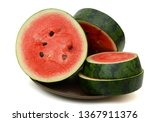 sliced watermelon isolated on... | Shutterstock . vector #1367911376