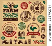 Farm fresh labels. Organic Farming isolated vector sign set. Farmer.