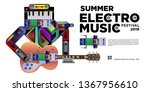 vector summer electro music... | Shutterstock .eps vector #1367956610