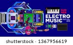 vector summer electro music... | Shutterstock .eps vector #1367956619