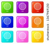 golf ball icons set 9 color... | Shutterstock .eps vector #1367969150