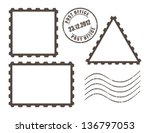 blank post stamps  vector... | Shutterstock .eps vector #136797053