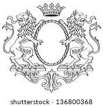floral frame. two lions and... | Shutterstock .eps vector #136800368