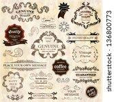 vector set  calligraphic design ... | Shutterstock .eps vector #136800773