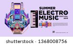 vector summer electro music... | Shutterstock .eps vector #1368008756