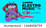 vector summer electro music... | Shutterstock .eps vector #1368008759