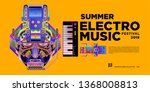 vector summer electro music... | Shutterstock .eps vector #1368008813
