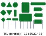 road green sign vector flat... | Shutterstock .eps vector #1368021473