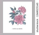 vector rose flowers on the card....   Shutterstock .eps vector #1368025160