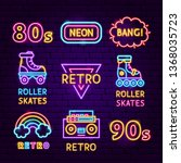 retro neon label set. vector... | Shutterstock .eps vector #1368035723