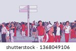 illustration of crowded city... | Shutterstock .eps vector #1368049106