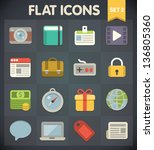 universal flat icons for web... | Shutterstock .eps vector #136805360