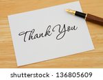 a thank you card with a... | Shutterstock . vector #136805609