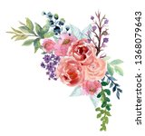 watercolor boho vintage floral...   Shutterstock . vector #1368079643