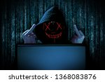 hacker with middle fingers... | Shutterstock . vector #1368083876