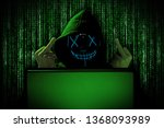 hacker with middle fingers... | Shutterstock . vector #1368093989