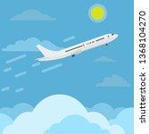 airplane flying in sky above... | Shutterstock .eps vector #1368104270